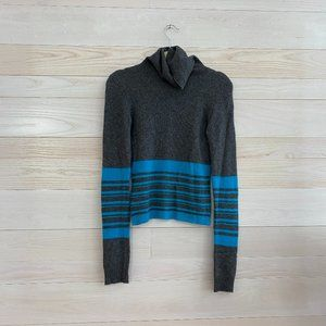 Theory Grey and Blue Cashmere Turtleneck